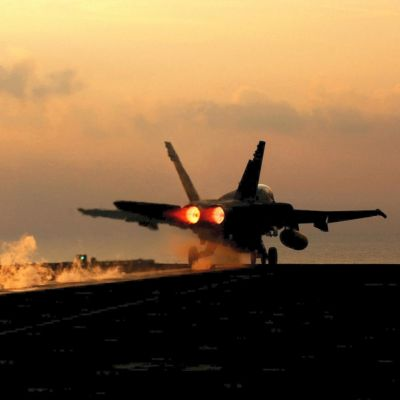 050102-N-2984R-118A Marine F/A-18 Hornet launches from one of four steam-powered catapults on the flight deck of the aircraft carrier USS Harry S. Truman (CVN 75) on Jan. 2, 2005.  The Truman and its embarked Carrier Air Wing 3 is providing close air support and conducting intelligence, surveillance, and reconnaissance missions over Iraq while operating in the Persian Gulf.  The Hornet is assigned to the Fixed Wing Marine Fighter Attack Squadron.  DoD photo by Airman Apprentice Ricardo J. Reyes, U.S. Navy.  (Released)